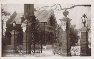 Postcard of the lodge at Hall Barn