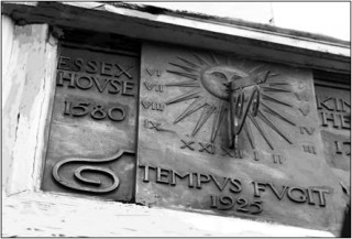 The Sundial showing dates and the words 'Tempus fugit' (Time Flies)
