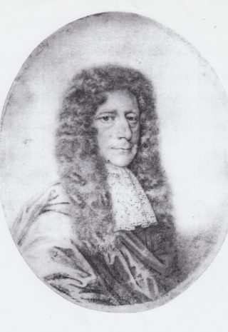Print of an engraved portrait of Edmund Waller
