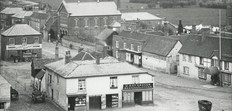 View from top of church tower showing Days Stores