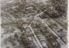 Black & white aerial photograph showing Broadway and Seeleys Farm