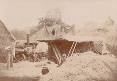 Sepia photograph of haymaking