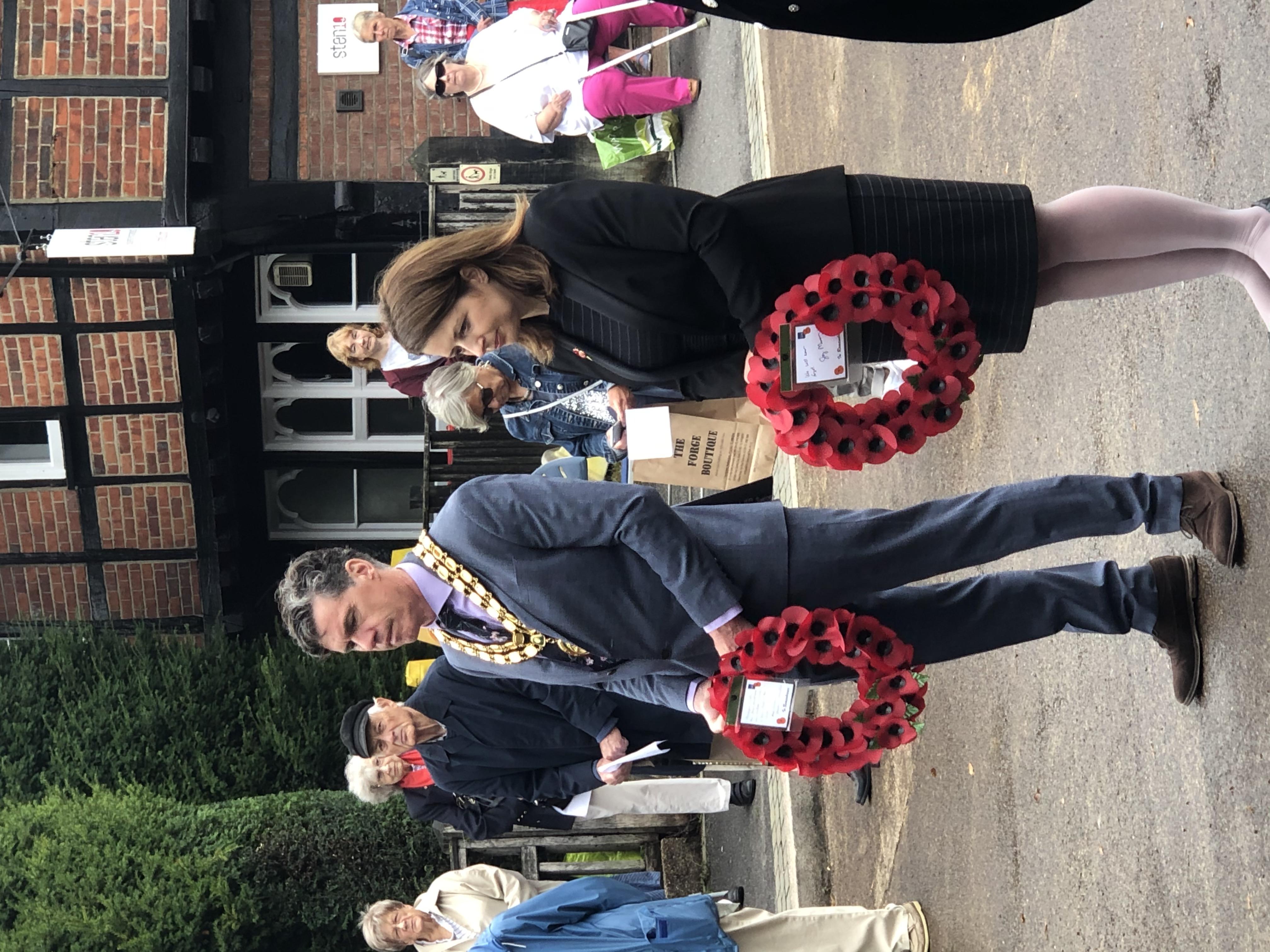 Alex Dunlop, Mayor; Joy Morrissey, M P