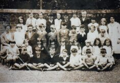 Copy of sepia photograph of pupils at Church of England School.
