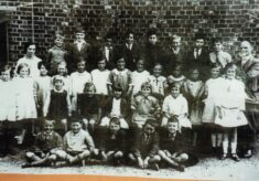 Copy of black & white photograph of pupils at Church of England School.