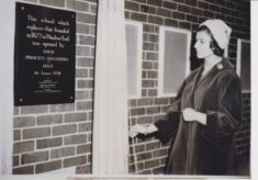 Photograph of Princess Alexandra unveiling the plaque at opening ceremony