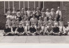 Black and white photograph of a class at Holtspur School.