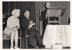Black and white photograph showing a speech being given at the 1972 celebration.