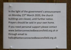 Closure notice on Church door