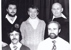 Photograph of members of Butler's Court darts team.