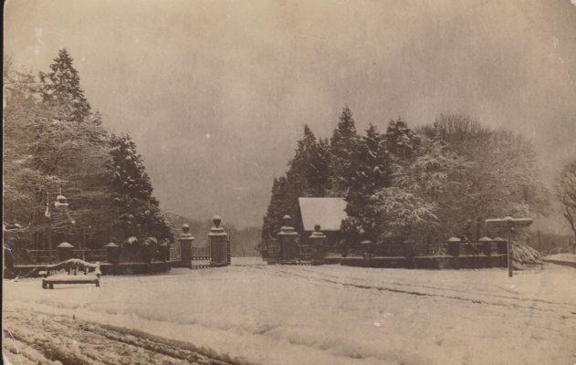 Postcard of Wilton Park gates