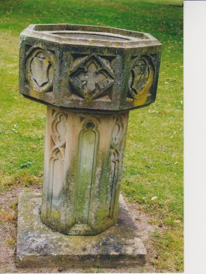 Photograph of font in the grounds of Wilton Park