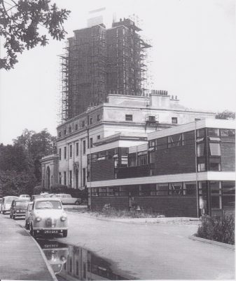 Photocopy of a photograph of the tower block at Wilton Park and surrounding buildings