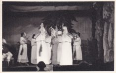 Black and white postcard photograph of actors on stage; possibly Iolanthe 1913