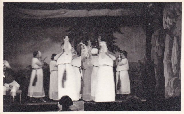 Black and white postcard photograph of actors on stage; possibly Iolanthe 1913 | Unknown