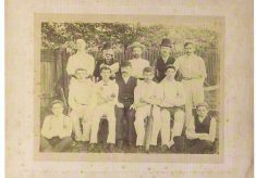 Sepia photograph of Beaconsfield Cricket club at White Hart Meadow (now Horseshoe Crescent)