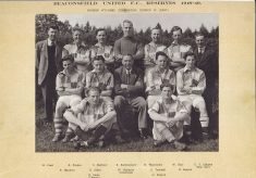 Photograph mounted on black  card of Beaconsfield Football Team 1924-1925