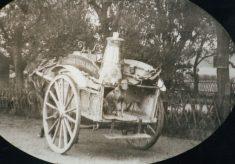Copy of sepia photo of horse-drawn milk float