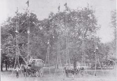 Reproduction black and white photo of itinerant cherry pickers at Seeleys Farm