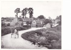 Black and white postcard with Hedgerley village printed at bottom