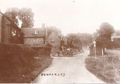 Black and white postcard with Hedgerley at the bottom