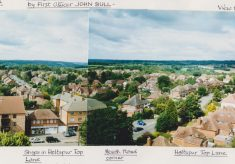 A panoramic coloured photograph of Holtspur, affixed to an A4 sheet.