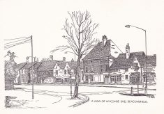 Postcard pen & ink drawing of Wycombe End