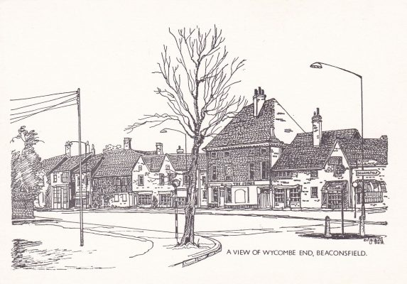 Postcard pen & ink drawing of Wycombe End | Unknown