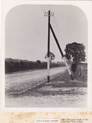 Black & White photograph of Wycombe Road (Oxford Road) with newly installed telegraph poles
